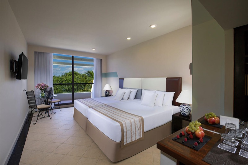 Oasis Lite room with two double beds and beautiful view in Oasis Cancun Lite hotel