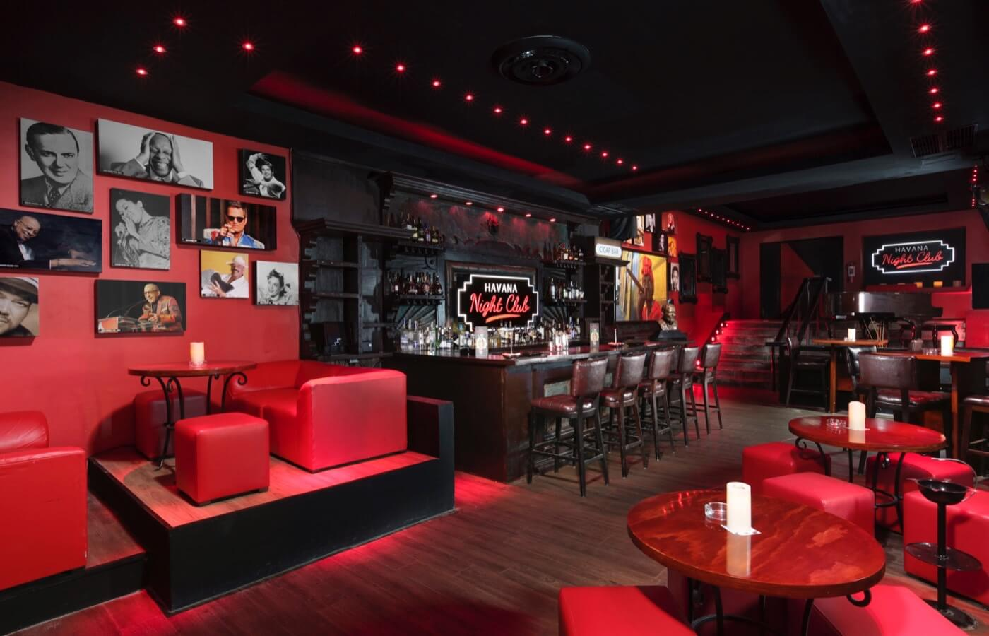 Inside view of Havana Night Club Bar at The Pyramid at Grand Oasis Hotel