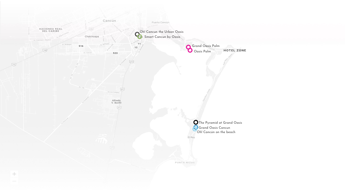 Location Map of our hotels Oasis Hotels & Resorts