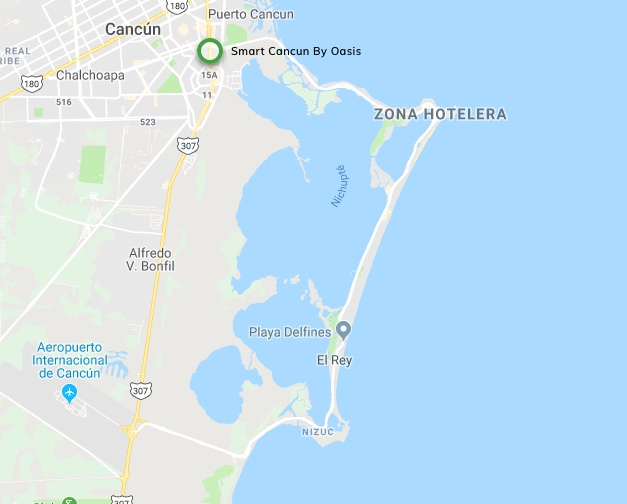 Location Map of the Hotel Smart Cancun by Oasis