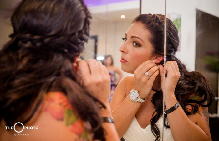 Bride getting ready for wedding wedding photo shoot