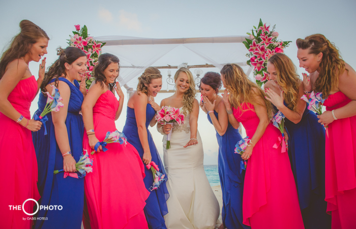 Just married bride with bridesmaids wedding photo shoot