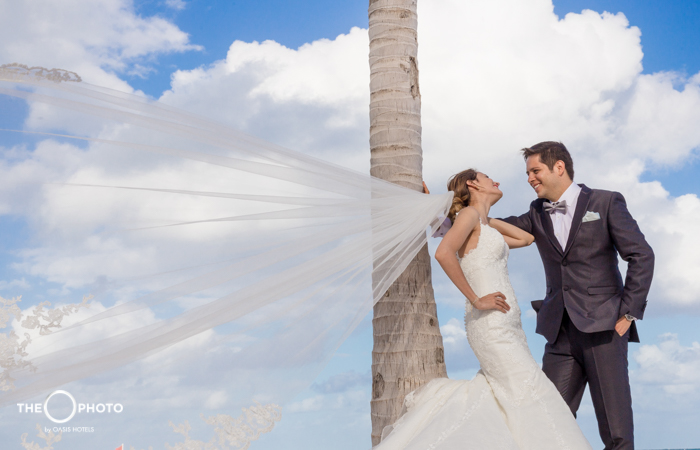 Photo session couple dressed as bride with wind wedding photo shoot