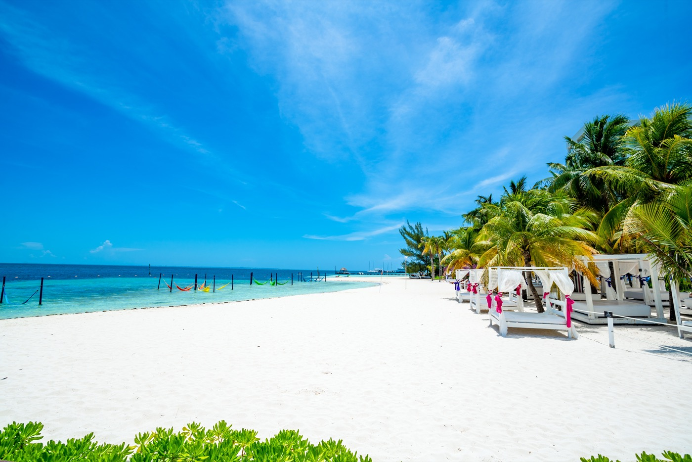 Área de descanso junto a la playa con camas y camastros entre palmeras y sombra