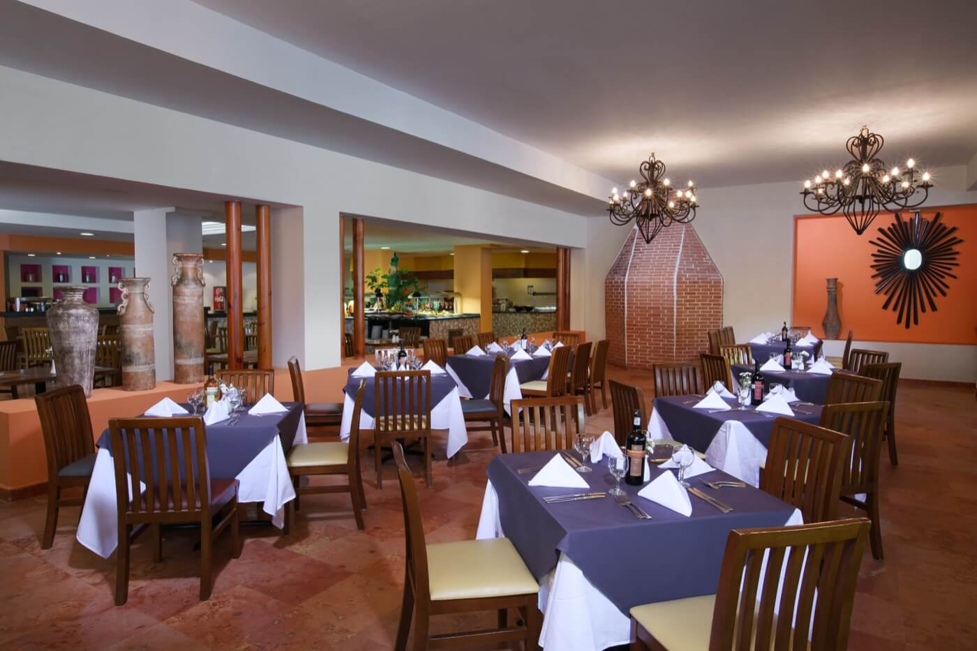 Inside View of Dos Lunas Restaurant at Hotel Oasis Palm