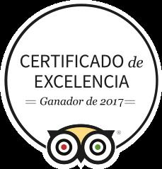 TripAdvisor Ganador Certificado de Excelencia 2017