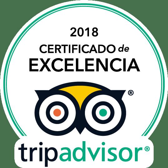 TripAdvisor Ganador Certificado de Excelencia 2018
