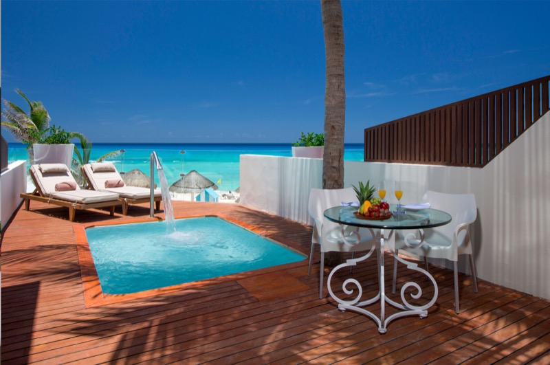 Presidential bedroom terrace with private pool at The Sian Ka'an at Grand Sens hotel