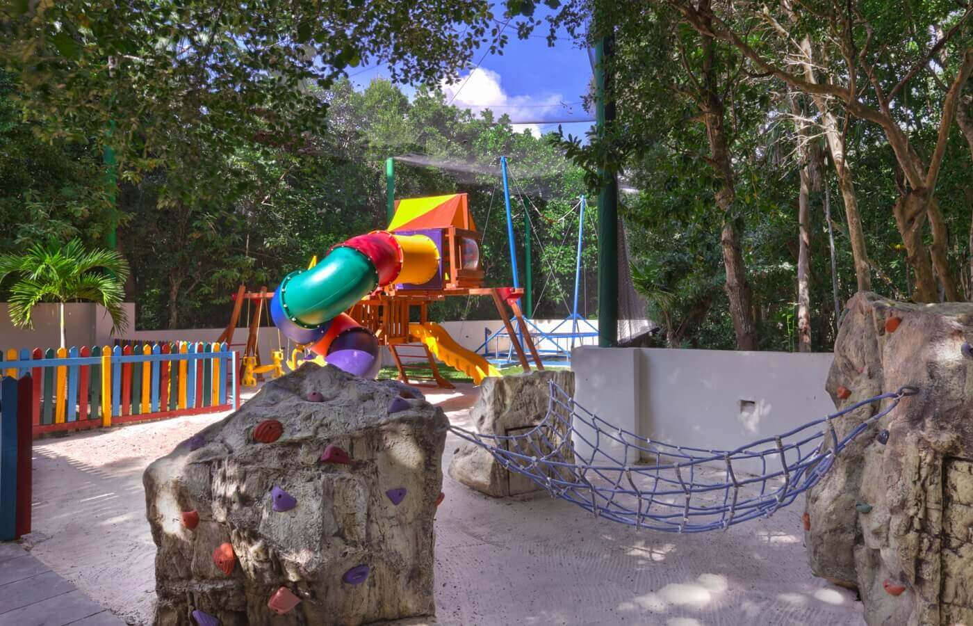 Playground with KiddoZone puff toys and armchairs at Oasis Tulum Lite Hotel