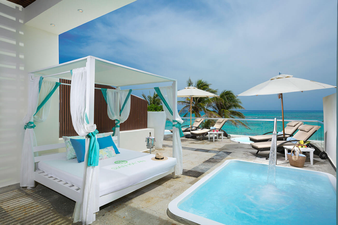 Terrace of Junior Suite with private pool in The Sian Ka'an at Grand Tulum Hotel