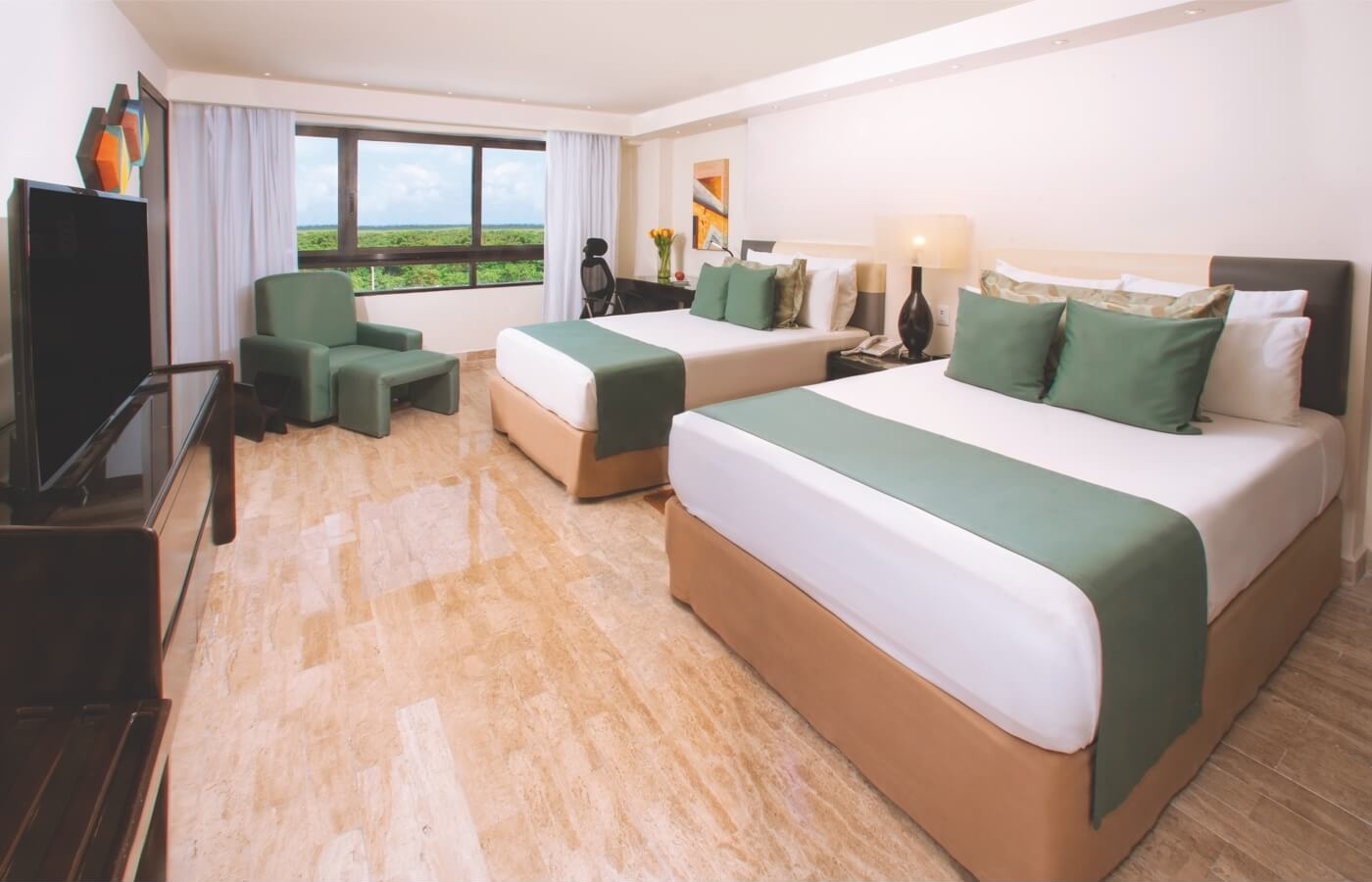 Room with two double beds and window with beautiful view in Smart Cancun by Oasis Hotel